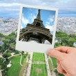 Stock Photo: Polaroid frame of Eiffel tower over Champ de Mars of Paris