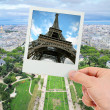 Polaroid frame of Eiffel tower over The Champ de Mars of Paris — Stock Photo
