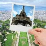 Polaroid frame of Eiffel tower over The Champ de Mars of Paris — Stock Photo #42311027