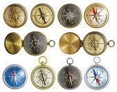Ten nautical isolated compass set — Stock Photo