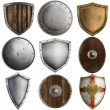 Medieval shields collection 3 isolated on white — Stock Photo
