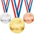 Gold, silver, bronze realistic sport medals with tricolor ribbon — Stock Photo #42576425