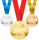 Gold, silver, bronze realistic sport medals with ribbon set isol — Stockfoto