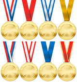 Gold medal set with various photo realistic ribbon type isolated — Stock Photo