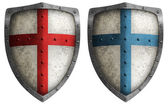 Medieval crusader shield illustration isolated on white — Stock Photo