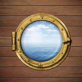 Boat window or porthole with sea or ocean horizon on wood wall  — Stock Photo