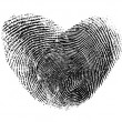 Fingerprint heart isolated on white — Stock Photo