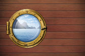 Ship window with sea or ocean with tropical island. Travel and a — Stock Photo
