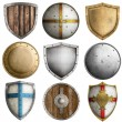 Medieval shields collection 2 isolated on white — Stock Photo