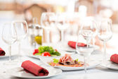 Banquet setting table in restaurant interior — Stock Photo