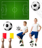 Soccer or football set including ball, player, field — Foto de Stock