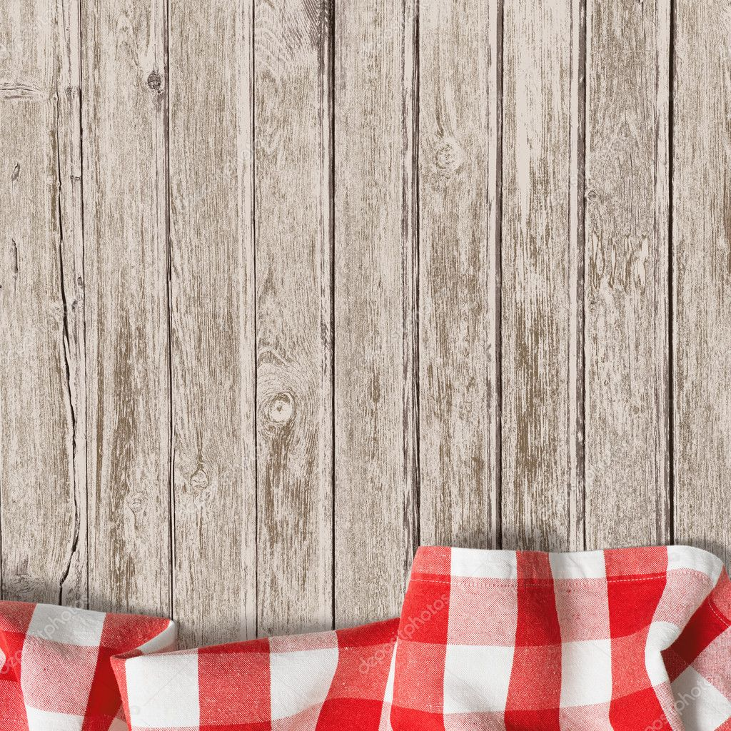 Old wooden table with red picnic tablecloth background — Stock Photo ...
