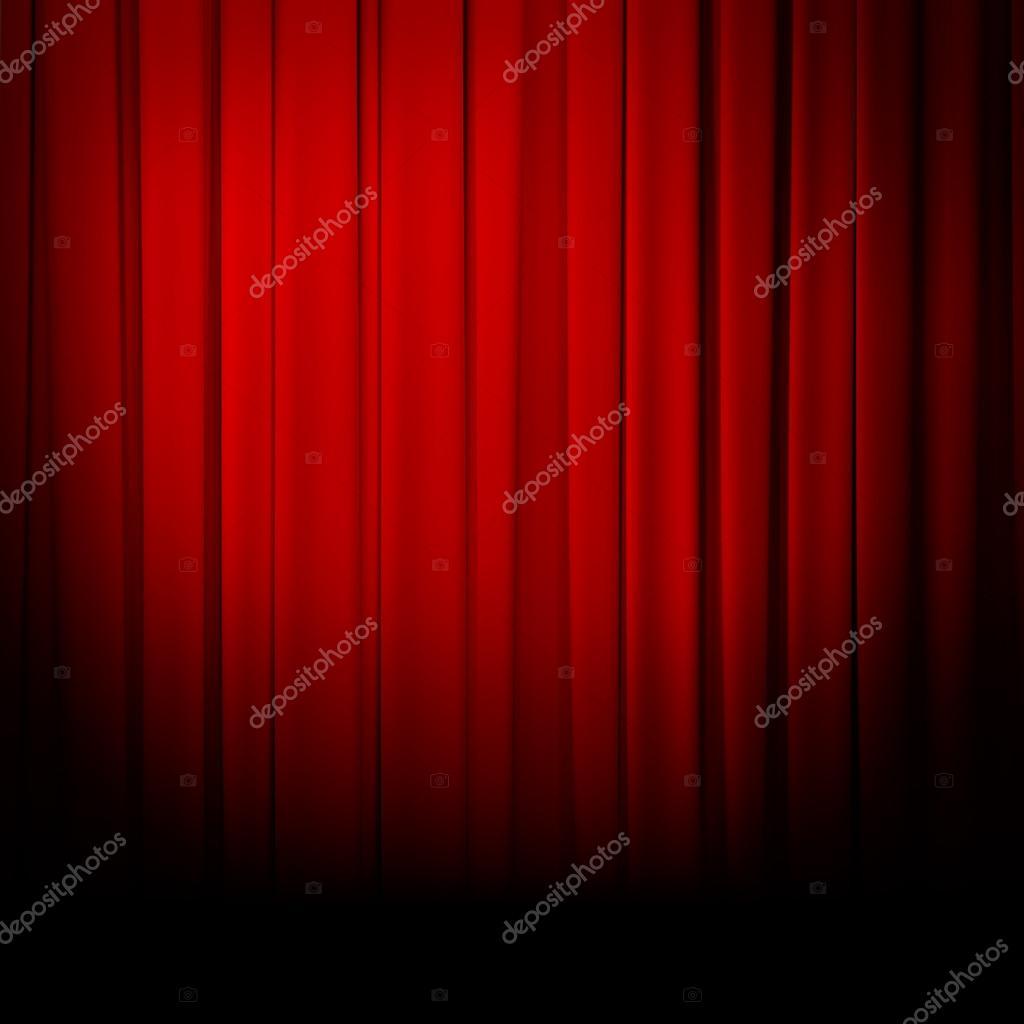Red curtain spotlight - Theatre Red Curtain Spotlight Stock Photo 44322021