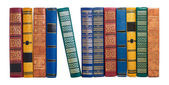 Bookshelf or book spines row isolated on white — Stock Photo