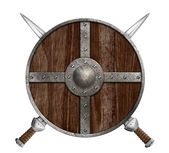Two crossed swords and wooden viking shield isolated — Stock Photo