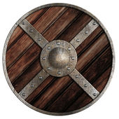 Medieval round wooden shield of vikings isolated on white — Stock Photo