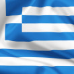 Greece flag on satin or silk — Stock Photo
