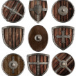 Medieval wooden shields collection isolated on white — Stock Photo #47102701