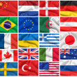 Flags set: USA, Great Britain, Italy, France, Brazil, Germany, R — Stock Photo
