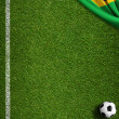 Soccer field with ball and flag of Brazil — 图库照片 #47247469