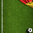 Soccer field with ball and flag of Germany — Stock Photo #47674751