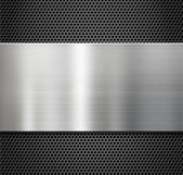 Steel metal plate over comb grate background — Stock Photo