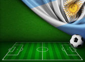 Soccer or football background with flag of Argentina — Stock Photo
