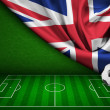 Soccer or football background with flag of United Kingdom — Stock Photo