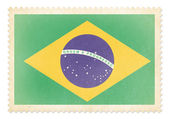 Postage stamp with flag of Brazil isolated. Clipping path is inc — Stok fotoğraf