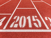 New year 2015 diggits on sport track. Good start, growing busine — Stock Photo