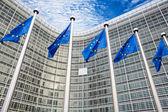 EU flags in front of Berlaymont building  — Stock Photo