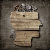 Open brain model made from wood, rusty metal gears and cogs — Stock Photo