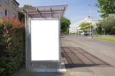 Bus stop billboard or poster, white, blank. Clipping path is inc — Stock fotografie