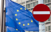 No entry sign in front of EU flag — Stock Photo