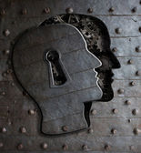 Human brain door with keyhole concept made from metal gears and  — Stock Photo