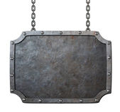 Medieval metal sign or frame with chains isolated on white — Stock Photo