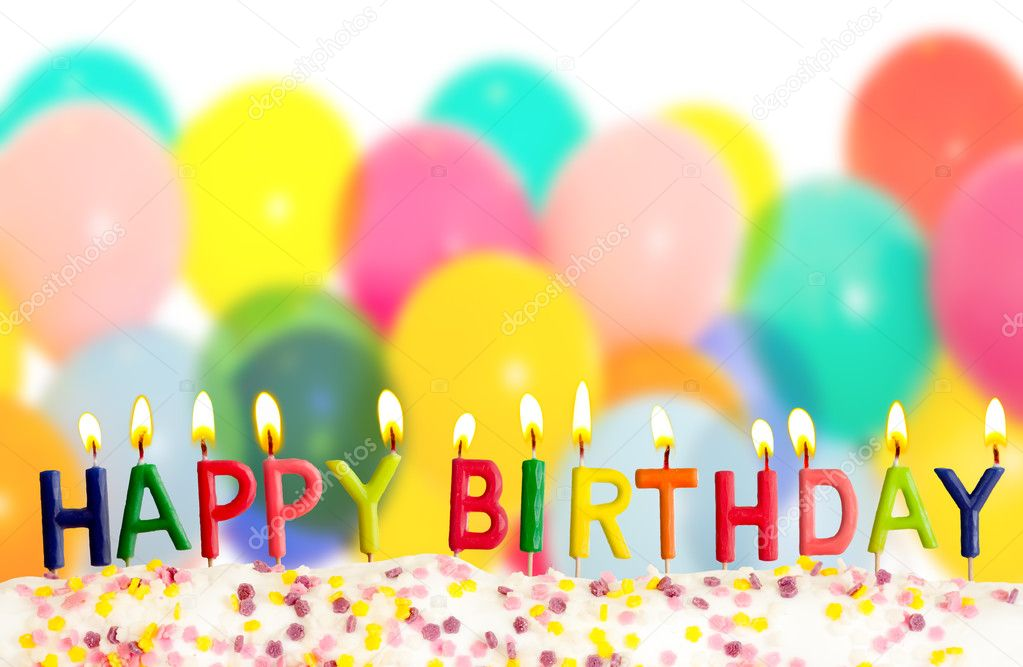 Happy Birthday Balloons Happy Birthday Lit Candles on Colorful Balloons Background Stock