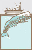 Whaling boat with harpoon hunts a whale. — Stock Vector