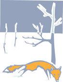 Winter Fox — Stock Vector