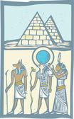 Hieroglyph Pyramids — Stock Vector