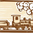 Locomotive Woodcut - Stok Vektör