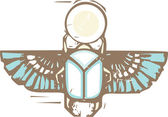 Egyptian Distressed Winged Scarab — Stock Vector