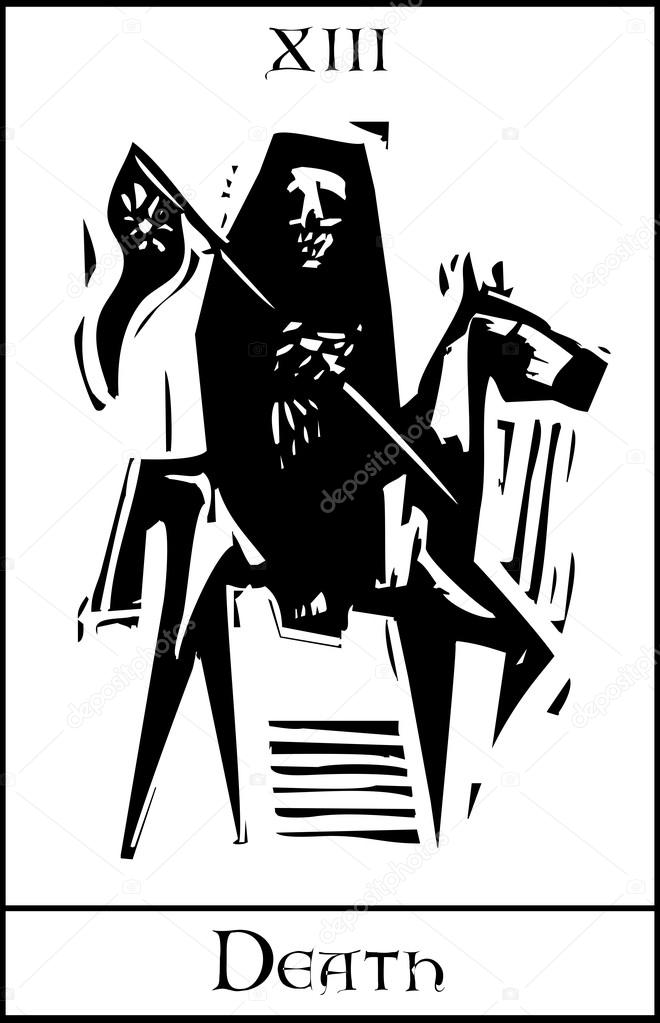 Woodcut expressionist style Tarot card for death number thirteen. — Stock Vector #19637907