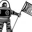 Royalty-Free Stock Vector Image: Woodcut Astronaut with Flag
