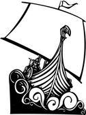 Viking Longship Sailing B — Stock Vector