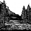 Woodcut Landscape — Vetorial Stock #25761643