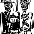 Stock Vector: Day of the Dead Wedding
