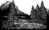 Woodcut Landscape — Stock Vector