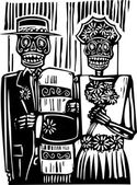 Day of the Dead Wedding — Stock Vector