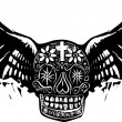 Day of the Dead Winged Skull — Stock Vector